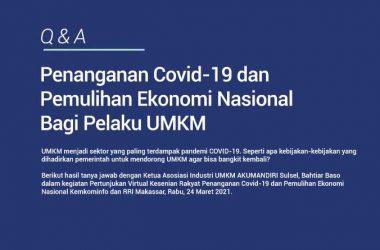 Penanganan Covid-19 dan Pemulihan Ekonomi Nasional Bagi Pelaku UMKM